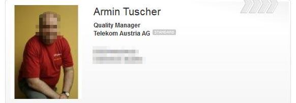 Armin Tuscher als ausgewiesener Manager der A1 Telekom Austria AG bei Xing