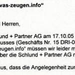 Faksimile aus dem Schreiben der Rechtsabteilung der Schlund & Partner AG an die Wachtturm Bibel und Traktatgesellschaft