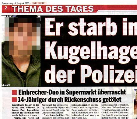 Faksimile Tageszeitung ÖSTERREICH