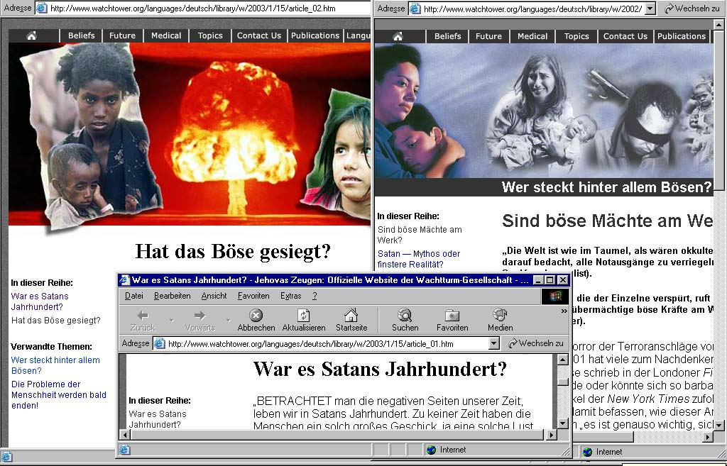 Screenshot der offiziellen Website der Wachtturmgesellschaft - ZEUGEN JEHOVAS vom 22.11.2003