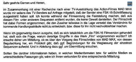Faksimile der Anfrage an die Freiwillige Selbstkontrolle der Filmwirtschaft