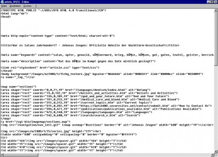 Der Quelltext der Seite - TEUFEL an 1. Stelle der Schlüsselwörter für Suchmaschinen
