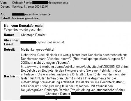 e-Mail von Christoph Ramler