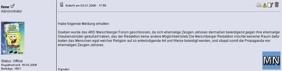 Screenshot aus dem Forum zu den ZEUGEN JEHOVAS