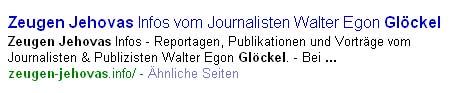Screenshot der Google Suchmaschine über zeugen-jehovas.info