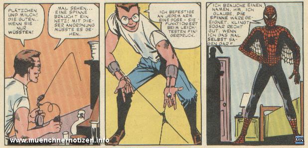 © Marvel Comic | Parker entwickelt sein Spinnenetz mit Abschlussvorrichtung