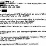 ergänzende Anfrage nach Erhalt des Fax der FSK